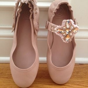 1f1296d6652deb Tory Burch Shoes - Tory Burch Minnie Two-Way Embellished Ballet Flat